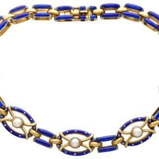 Antique Seed Pearl and Enamel 21ct Yellow Gold Gate Bracelet Circa 1890