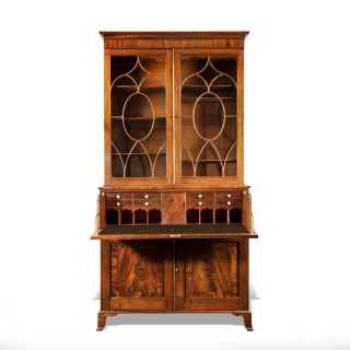A late George III mahogany secretaire bookcase attributed to Gillows