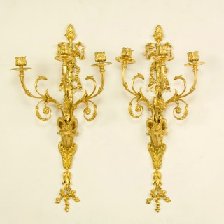 Pair of 19th Century French Louis XVI Goat Heads Three-Light Wall Lights/Sconces