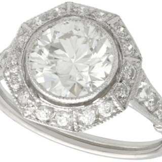 2.30ct Diamond and Platinum Engagement Ring - Art Deco Style - Antique, Vintage and Contemporary
