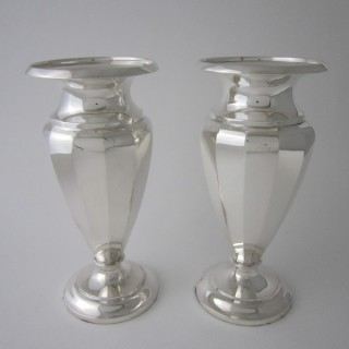 A pair of Antique George VI Sterling silver vases