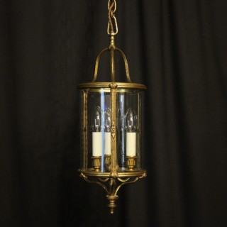 French Gilded Triple Light Antique Lantern