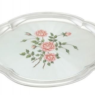 Sterling Silver and Enamel Dressing Table Tray - Vintage Elizabeth II