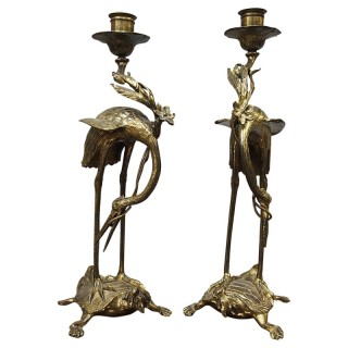 Pair of Chinese Gilded Brass Crane Candlesticks