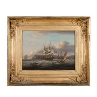 Thomas Luny – HMS Bellerophon leaving Torbay with the defeated Emperor Napoleon aboard