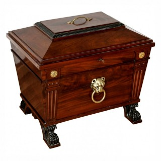 George IV style brass mounted mahogany antique wine cooler