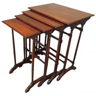 Nest of 4 Inlaid Mahogany Tables