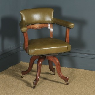 Antique English Victorian Aesthetic Mahogany & Sage Green Leather Revolving Office Desk Arm Chair (Circa 1900)