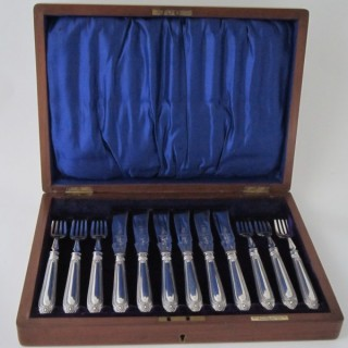 Antique Victorian Sterling silver fish knives and forks