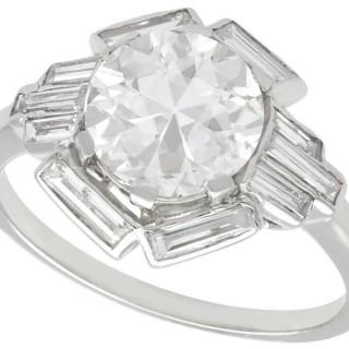 3.26 ct Diamond and Platinum Cocktail Ring - Art Deco - Antique Circa 1935