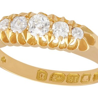 0.36 ct Diamond and 18 ct Yellow Gold Dress Ring - Antique 1876