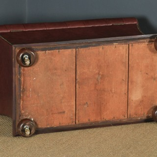 Antique English Victorian Mahogany & Burgundy Red Leather Upholstered Concave Ottoman Box (Circa 1870)