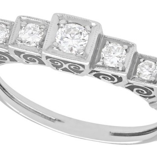 0.35 ct Diamond and 18 ct White Gold Five Stone Ring - Antique Circa 1930