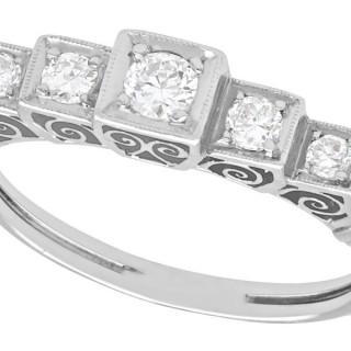 0.35 ct Diamond and 18 ct White Gold Five Stone Ring - Antique Circa 1930