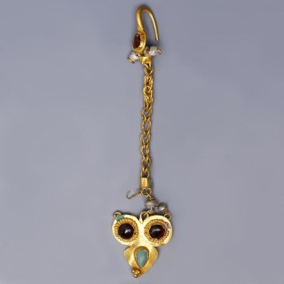 Ancient Roman Single Earring with Precious Stones and Pearls