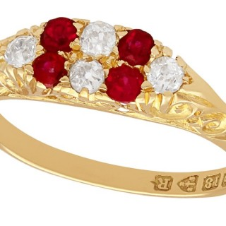 0.16 ct Ruby and 0.15 ct Diamond, 18 ct Yellow Gold Dress Ring - Antique 1900