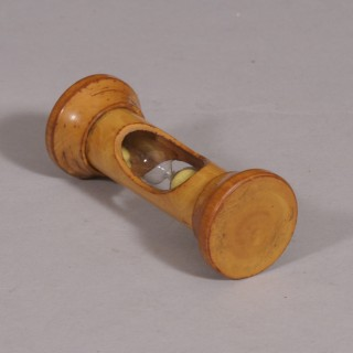 Antique Treen 19th Century Glass Egg Timer in a Sycamore Case