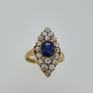 18ct Gold Vintage Marquise Sapphire & Diamond Cluster Ring