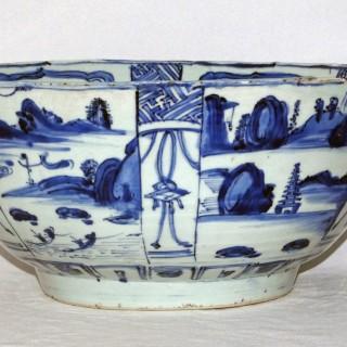 Ming blue and white porcelain kraak bowl