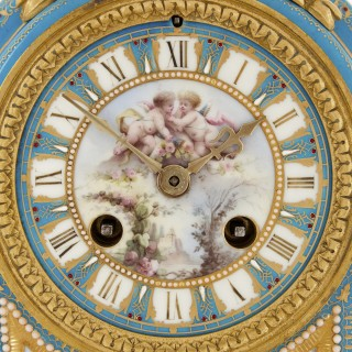 Louis XV style gilt bronze mounted porcelain mantel clock