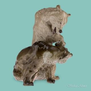 Meissen Art Nouveau Group of Bears by Erich Hoesel, c.1905