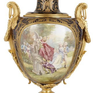 Sèvres style porcelain vase with Neoclassical style gilt bronze mounts