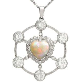 2.47ct Opal and 5.34ct Diamond, Platinum Pendant - Vintage Circa 1940