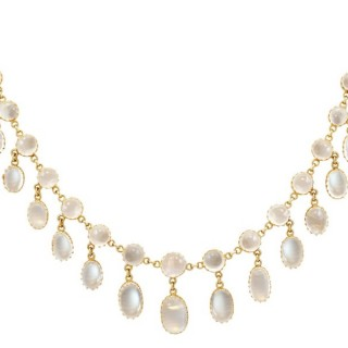 42.20ct Moonstone and 9ct Yellow Gold Necklace - Antique Circa 1900