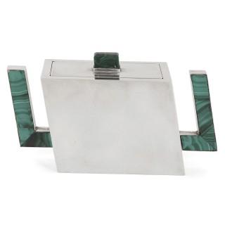 Italian Art Deco malachite and silver tea service