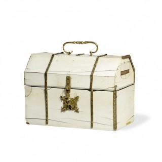 Italian 17th Century Ivory and gilt copper box