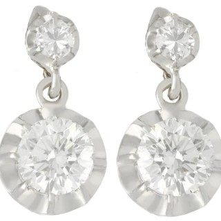 2.22ct Diamond and 18ct White Gold Drop Earrings - Antique Circa 1930