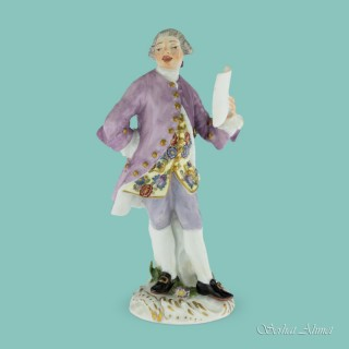 Meissen Figure of a Ballad Singer from the Saxon Court, c.1755