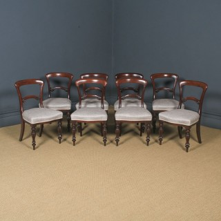 Antique English Victorian Set of Eight 19th Century Mahogany Spoon Back Dining Chairs (Circa 1850)