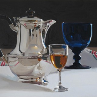 Coffee Pot with Blue Glass and Wine