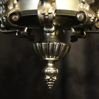 French Silver Gilded 8 Light Antique Chandelier
