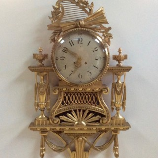 Large Gilt Wood Cartel  Wall Clock by Gustav Becker