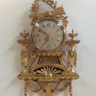 Large Gilt Wood Cartel  Wall Clock by Gustav Becker