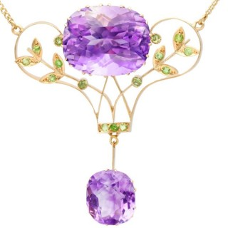 40.68 ct Amethyst and 1.26 ct Demantoid Garnet, 14 ct Yellow Gold Pendant - Antique Russian Circa 1915