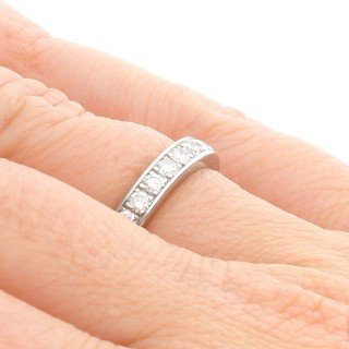 1.25 ct Diamond and 18ct White Gold Full Eternity Ring - Vintage Circa 1970