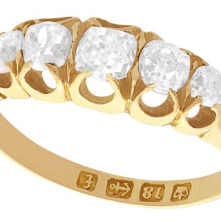 0.78 ct Diamond and 18 ct Yellow Gold Five Stone Ring - Antique Victorian