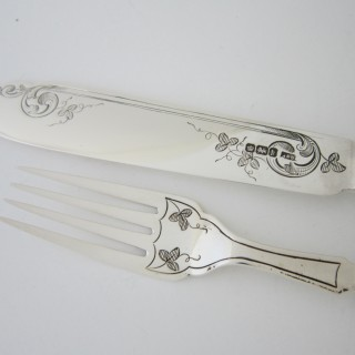Antique Edwardian Sterling silver and mother of pearl fish knives and forks
