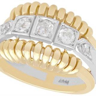 0.88ct Diamond and 14ct Yellow Gold Dress Ring - Art Deco Style - Vintage Circa 1950