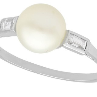 Cultured Pearl and 0.18 ct Diamond, 18 ct White Gold Dress Ring - Vintage Circa 1960