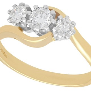0.54 ct Diamond and 18 ct Yellow Gold Trilogy Twist Ring - Vintage 1994