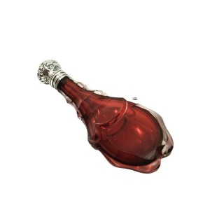 Antique Silver & Cranberry Glass Perfume / Scent Bottle c1880