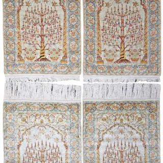 Rare Collection of Four Silk Hereke rugs