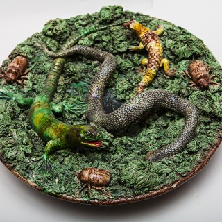 A Large Green Palissy Ware Plate