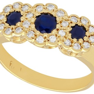 0.55 ct Sapphire and 0.46 ct Diamond, 18 ct Yellow Gold Dress Ring - Vintage Circa 1980