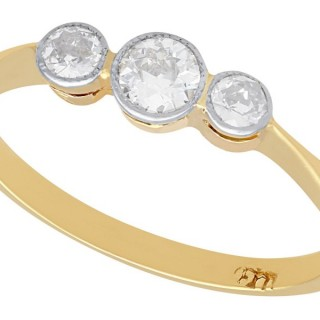 0.45 ct Diamond and 18 ct Yellow Gold Trilogy Ring - Antique Circa 1920
