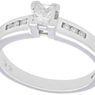 0.26 ct Diamond and 18 ct White Gold Solitaire Ring - Vintage Circa 1990